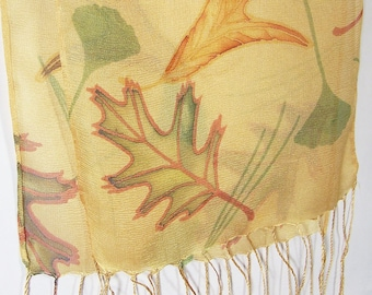 Silk scarf: Leaves on Yellow mesh with fringe.  Hand-painted, hand-printed on hand-dyed silk, original design.