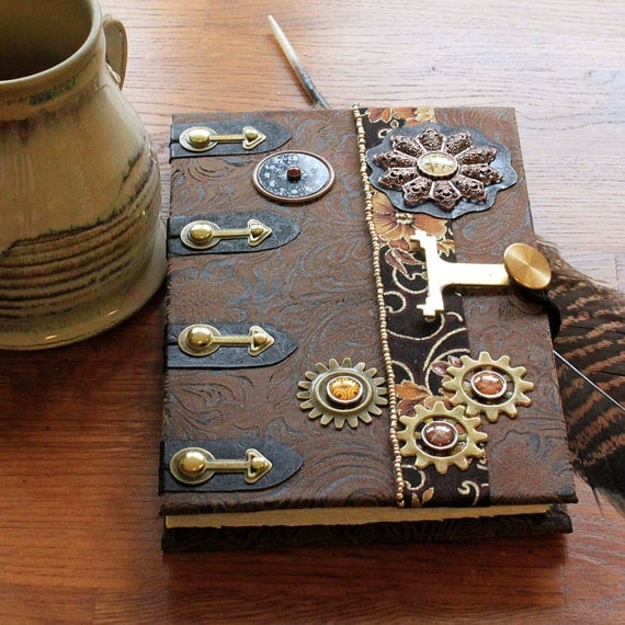 Steampunk Faux Leather Coptic Stitched Blank Journal