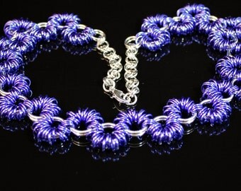 Purple and Silver Coil Necklace