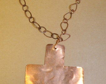 Handmade Copper Cross Necklace