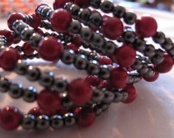 Pink Silver Memory Wire Bracelet