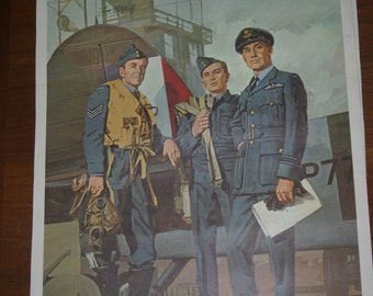 Canadian Military Lithograph Print