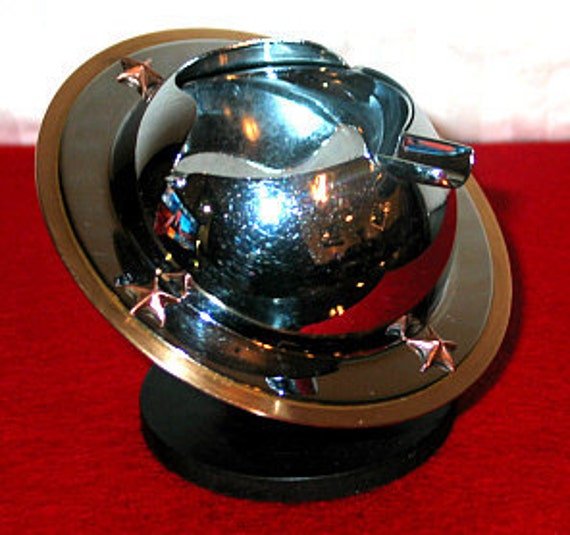 Art Deco Chromeware Saturn Planet Ashtray - National Silver Co.