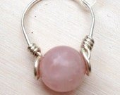 Rose Quartz Ring: Pink Stone Sterling Silver Filled Wire Wrapped Ring