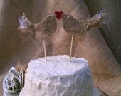 Adorably Cute Love Birds with Heart Burlap Wedding Cake Topper - Rustic Chic Weddings
