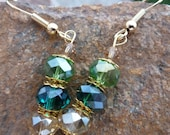 Gold-Lime, Teal & Champagne Earrings/Tri-Colored