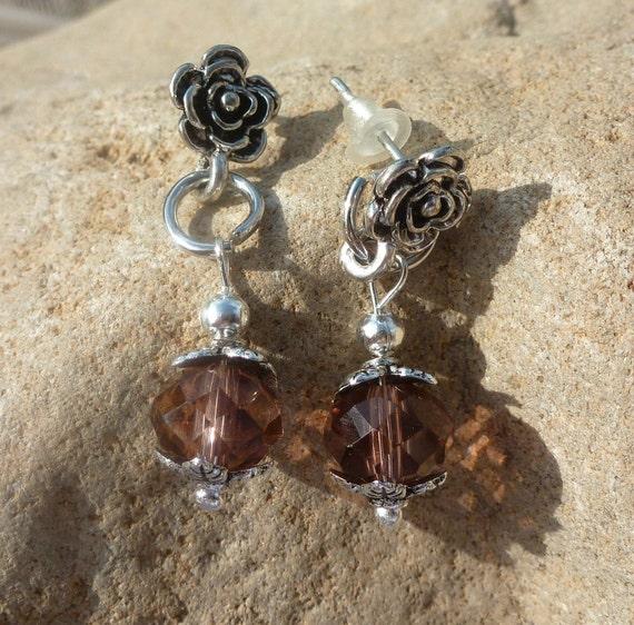 Smokey Plum Flower Earrings