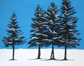 Spruce Trees in Winter Acrylic Painting & India Ink SALE
