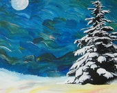 Night Sky in Winter with Snowy Tree Original Acrylic Painting