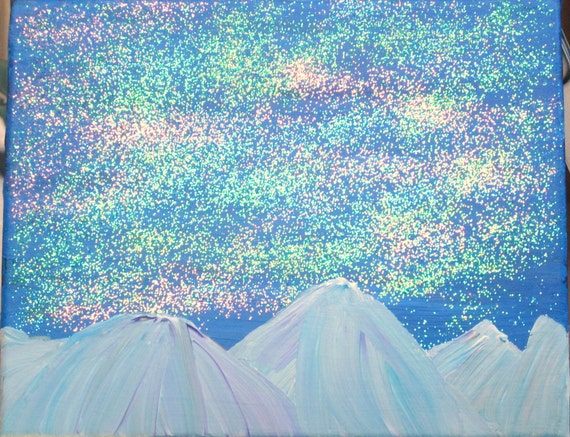 Mountains over Night Sky with Stars and Northern Lights Painting and Glitter
