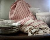Luxury Turkish Towel Red Stripe