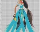 Large Size Disney Designer Princess Doll Jasmine (Aladdin) Cross Stitch Pattern PDF (Pattern Only)