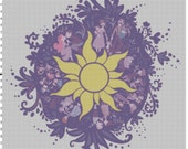 Large Size Disney Tangled Rapunzel Chalk Mural Design Cross Stitch Pattern PDF (Pattern Only)