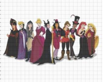 Large Size Disney Princess dressed as Disney Villains Cross Stitch Pattern PDF (Pattern Only)