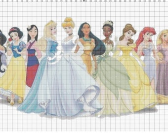 Small Size Disney Princess Cross Stitch Pattern PDF (Pattern Only)