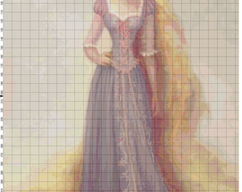 Small Size Disney Tangled Rapunzel Portrait Cross Stitch Pattern PDF (Pattern Only)