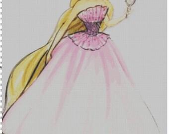 Large Size Disney Designer Princess Doll Rapunzel (Tangled) Cross Stitch Pattern PDF (Pattern Only)