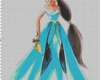 Small Size Disney Designer Princess Doll Jasmine (Aladdin) Cross Stitch Pattern PDF (Pattern Only)