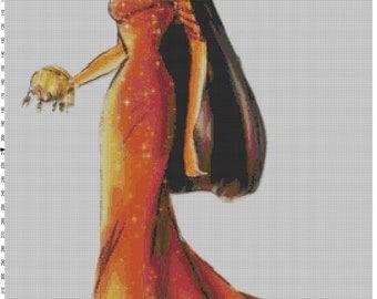 Large Size Disney Designer Princess Doll Pocahontas Cross Stitch Pattern PDF (Pattern Only)