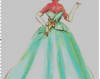 Small Size Disney Designer Princess Doll Tiana (Princess and the Frog) Cross Stitch Pattern PDF (Pattern Only)