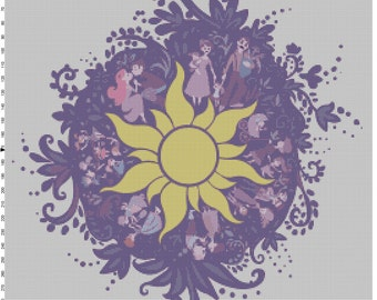 Small Size Disney Tangled Rapunzel Chalk Mural Design Cross Stitch Pattern PDF (Pattern Only)