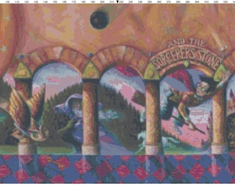 Large Size Harry Potter and the Sorcerer's Stone Book Cover Cross Stitch Pattern PDF (Pattern Only)