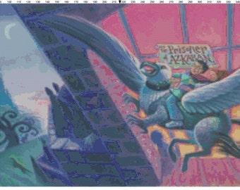 Large Size Harry Potter and the Prisoner of Azkaban Book Cover Cross Stitch Pattern PDF (Pattern Only)