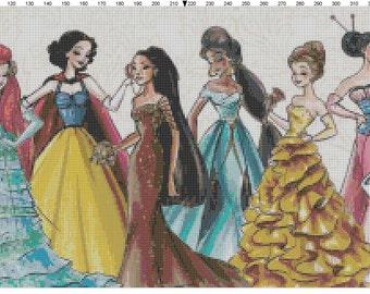 Large Size Disney Designer Princess Dolls Cross Stitch Pattern PDF (Pattern Only)