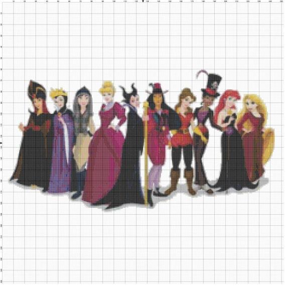 Small Size Disney Princess dressed as Disney Villains Cross Stitch Pattern PDF (Pattern Only)