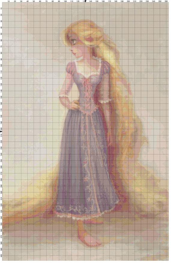 Large Size Disney Tangled Rapunzel Portrait Cross Stitch Pattern PDF (Pattern Only)
