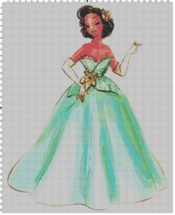 Large Size Disney Designer Princess Doll Tiana (Princess and the Frog) Cross Stitch Pattern PDF (Pattern Only)
