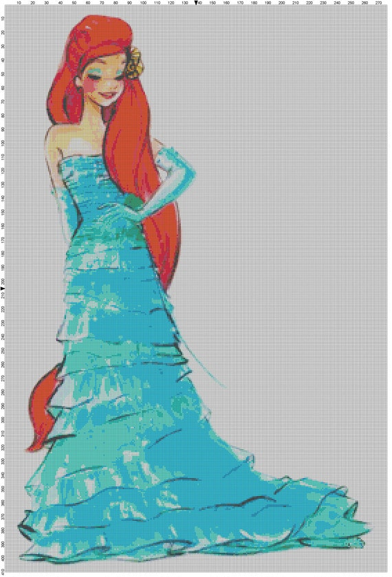 Large Size Disney Designer Princess Doll Ariel (The Little Mermaid) Cross Stitch Pattern PDF (Pattern Only)