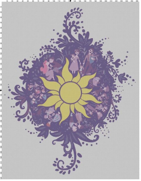 Large Size Disney Tangled Rapunzel Chalk Mural Design Cross Stitch Pattern PDF (Pattern Only)