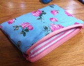 Handmade Blue and Pink Rose Makeup Pouch w/ Pink and White Lining