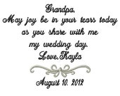 Grandfather   Handkerchief -Hankie - Hanky - Joy be in Your Tears - Grandpa - Grandfather of the Bride - Wedding - Bridal