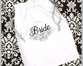 Monogrammed Lingerie bag - Personalized - Shoe Bag - Bride - Bride Gift - White Cotton Drawstring Bag - Monogrammed  Gift-Gift for the Bride