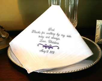 Father of The Bride Handkerchief -Hankie - Hanky - Thanks for Walking by My Side- Gift for Father of the Bride - Wedding