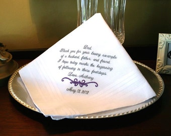 Father of The Groom Handkerchief -Hankie - Hanky -MOTIF -  Thank you for your Loving Example  - Wedding - Groom to give Father