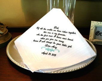 Wedding Handkerchief for Father of the Bride - Father of the Bride Gift- Wedding Handkerchief Hankerchief - weddings