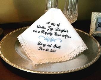 Wedding Hanky - Something Blue - Gift for Bride  - Ladies Handkerchief - Bridal - HAPPILY EVER AFTER  - MisterandMrs Wedding Hankerchief