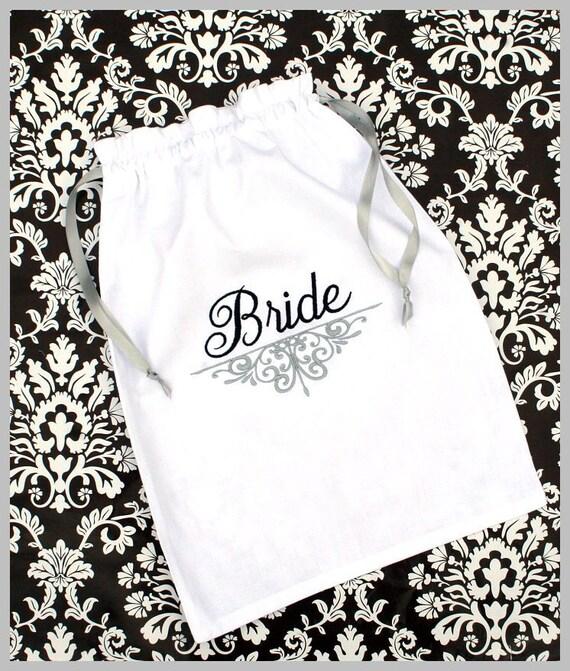 Monogrammed Lingerie bag - Personalized - Shoe Bag - Bride - Bridesmaid Gift - White Cotton Drawstring Bag - Monogrammed Bridesmaid Gift