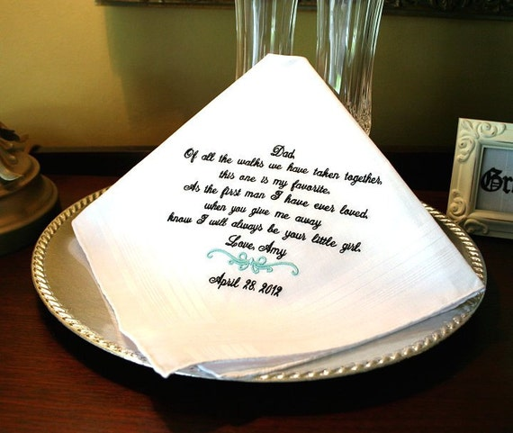 Wedding gift for Father of The Bride Handkerchief -Wedding Hankerchief - FAVORITE WALK - Gift for Father of the Bride - Wedding - Mister FOB