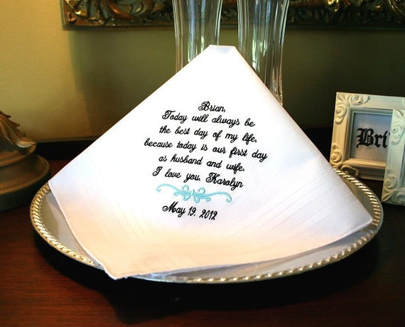 Groom Gift - Handkerchief -Hankie - Hanky - First day as Husband and Wife - Gift for Groom from the Bride - Wedding