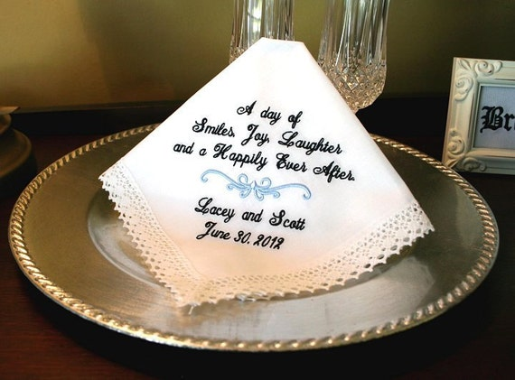 Wedding Gifts For Bride Something Blue : Wedding HankySomething BlueGift for BrideLadies Handkerchief ...
