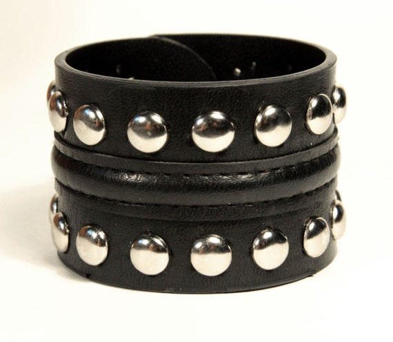 Leather Look Black Cuff Bracelet with silver Studs
