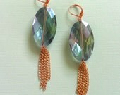 blue earings iridescent glass with copper chain