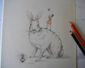 GIANT BUNNY - Original pencil drawing / illustration on antique book page