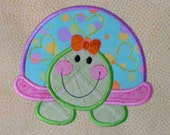 Turtle Applique and Embroidered Quilt Block by Amy