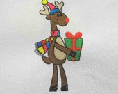 REINDEER with Christmas Present Embroidered Quilt Block by Amy