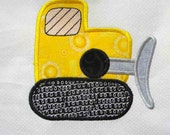 CONSTRUCTION Bulldozer Applique and Embroidered Quilt Block by Amy